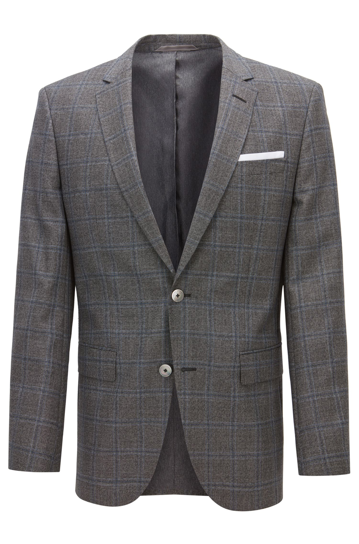Windopane Virgin Wool Sport Coat, Slim Fit | Hutsons