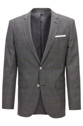 Windopane Virgin Wool Sport Coat, Slim Fit | Hutsons, Open Grey