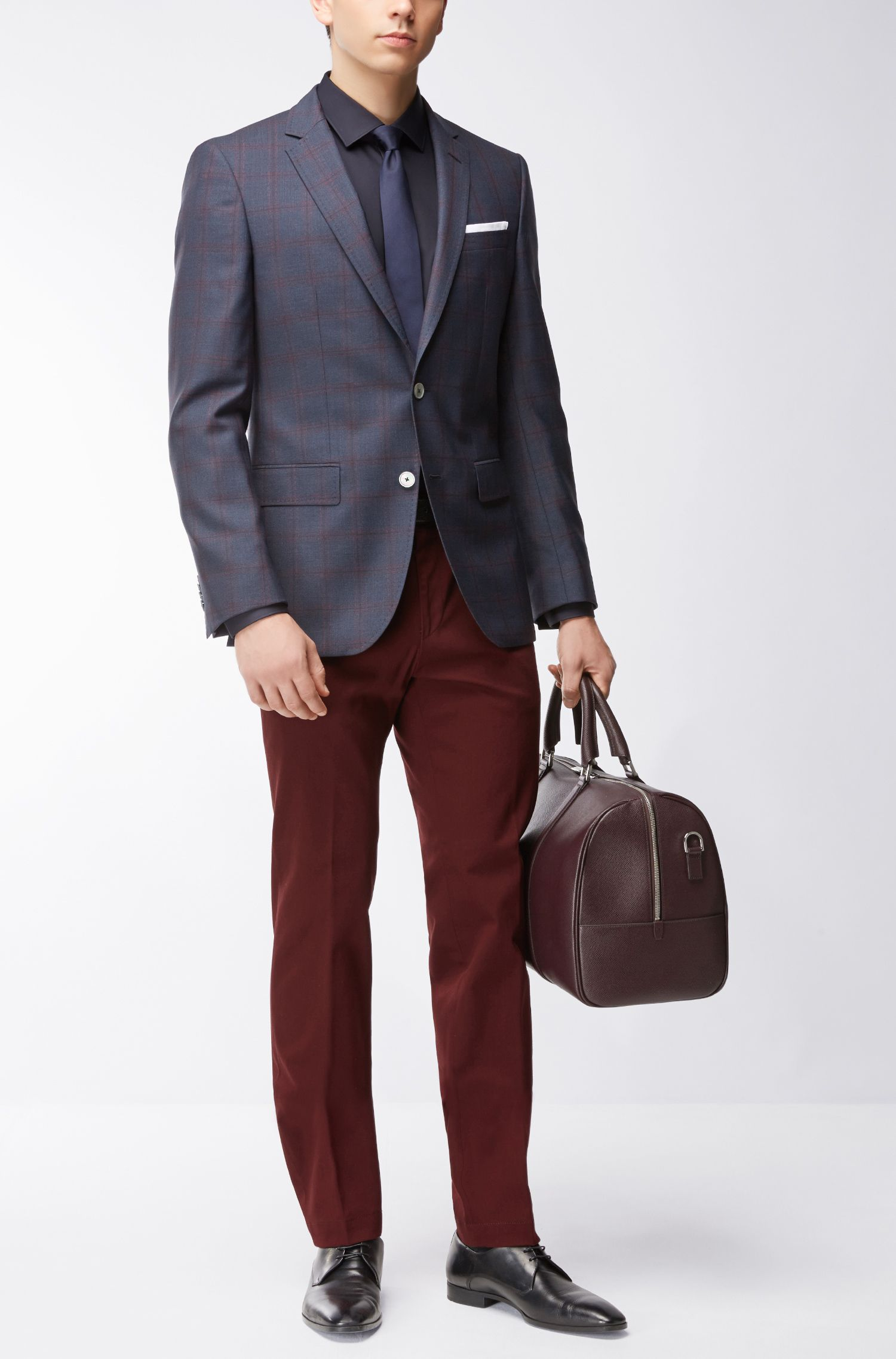 Windowpane Virgin Wool Sport Coat, Slim Fit | Hutsons, Dark Blue