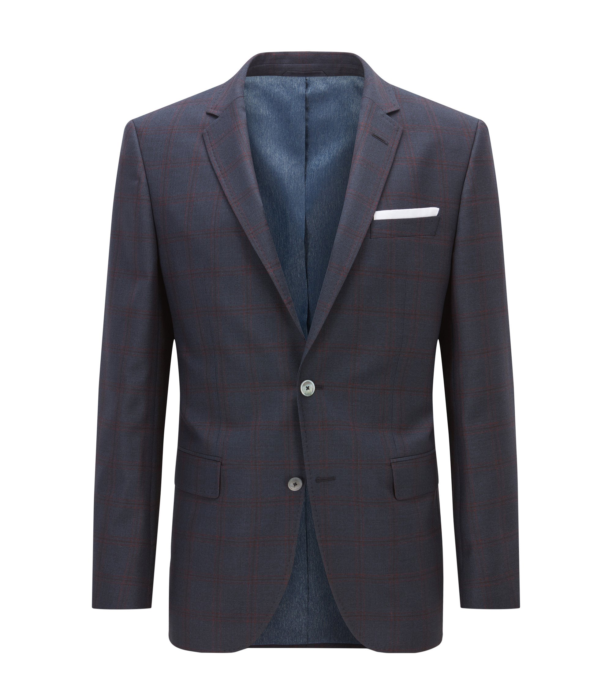 Windowpane Virgin Wool Sport Coat, Slim Fit | Hutsons, Dark Blue