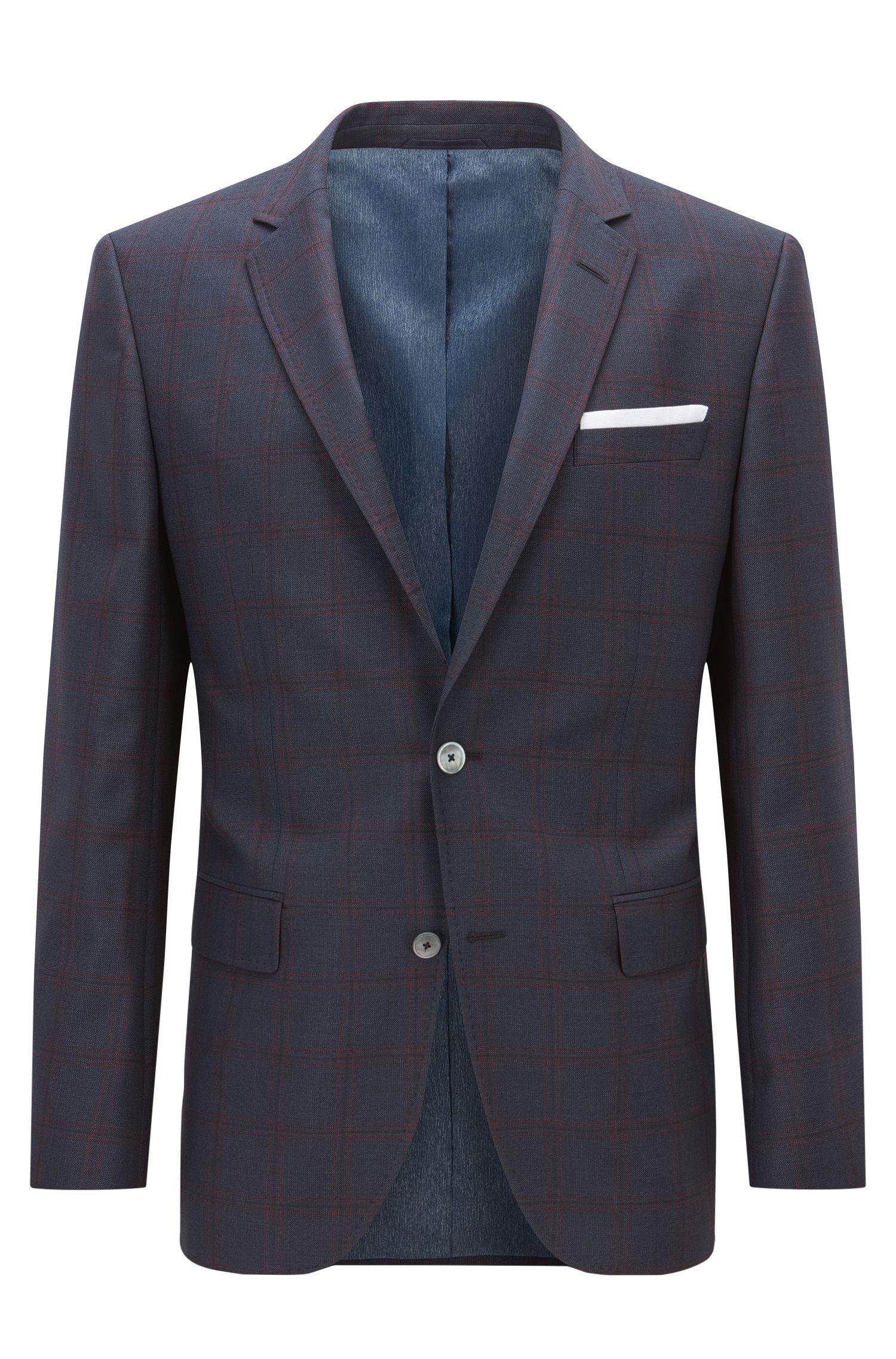 Windowpane Virgin Wool Sport Coat, Slim Fit | Hutsons