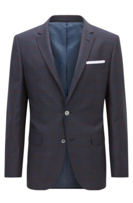 Windopane Virgin Wool Sport Coat, Slim Fit | Hutsons, Dark Blue
