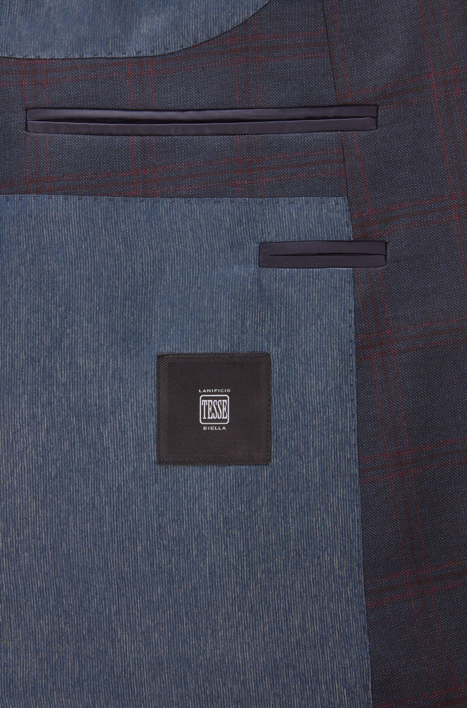 Windowpane Virgin Wool Sport Coat, Slim Fit   Hutsons, Dark Blue
