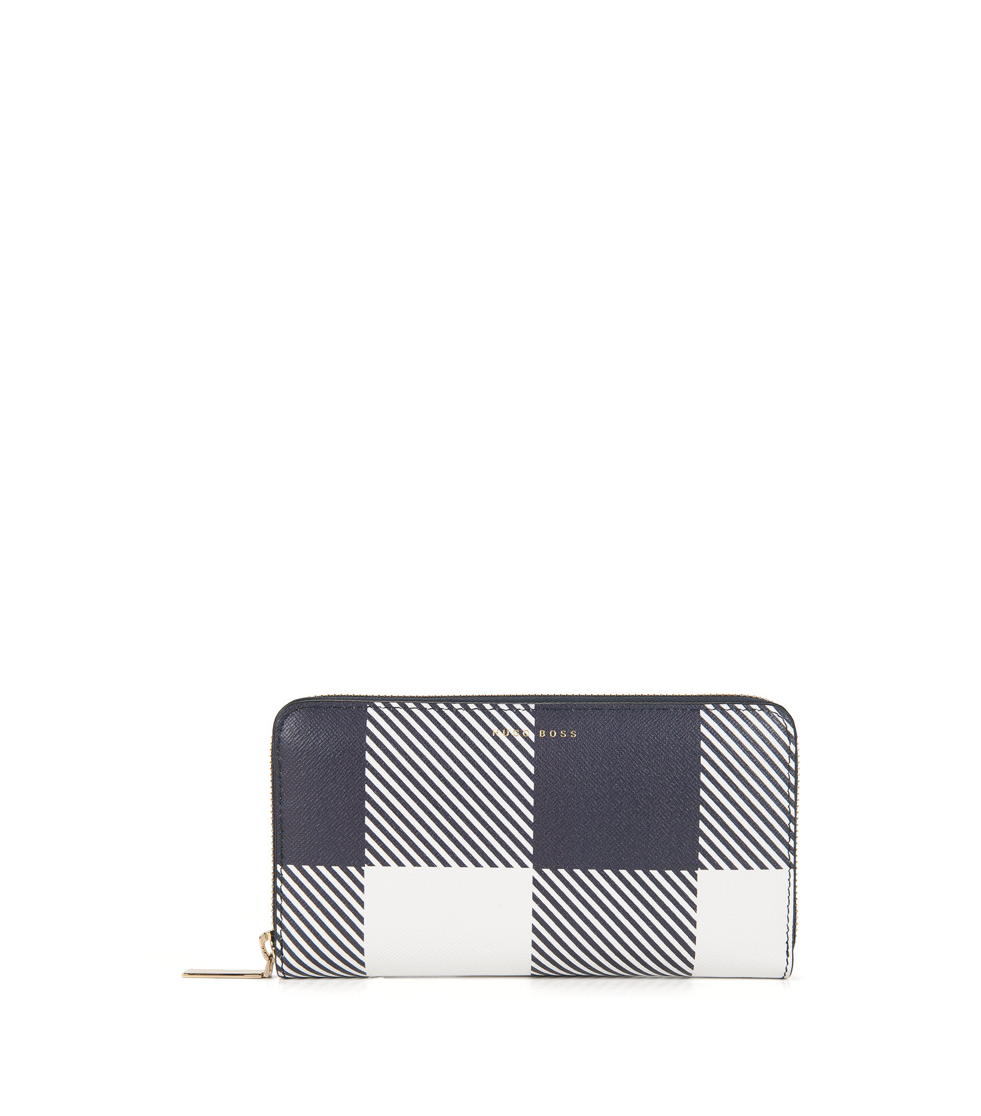 Checked Leather Wallet | Soft Ziparound V, Dark Blue