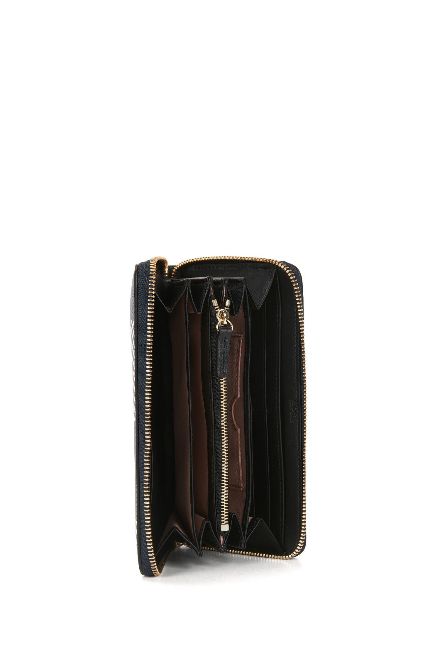 Checked Leather Wallet | Soft Ziparound V, Dark Blue