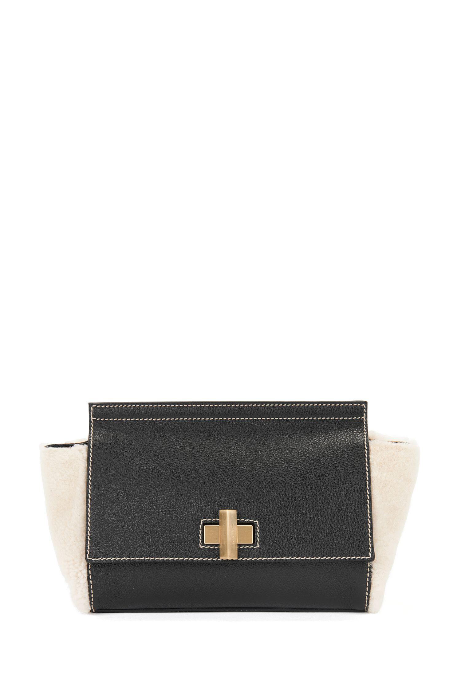 Shearling & Italian Leather Bag   BOSS Bespoke Soft CF