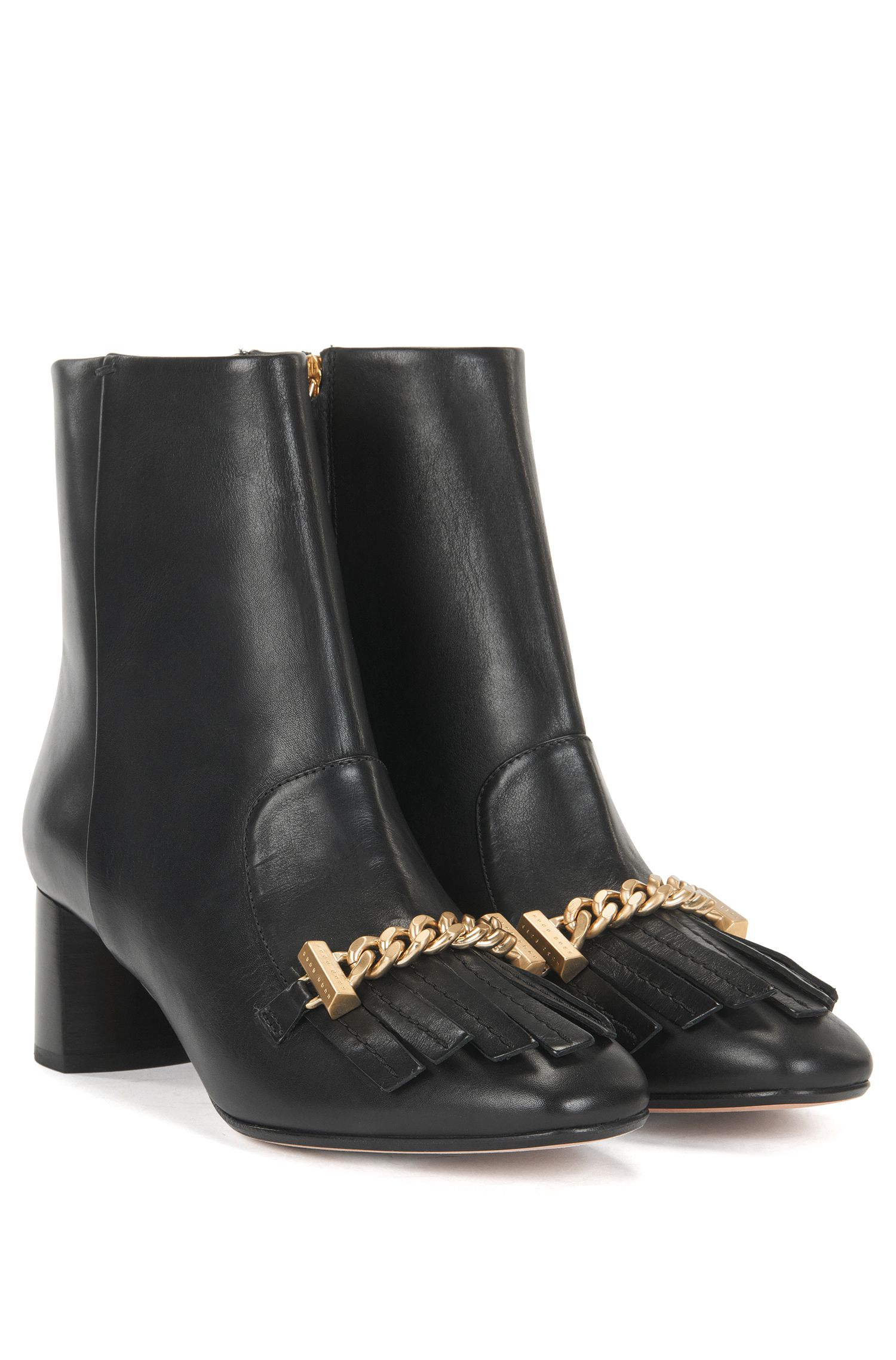 Chain Bit Leather Bootie | Chain Bootie C, Black