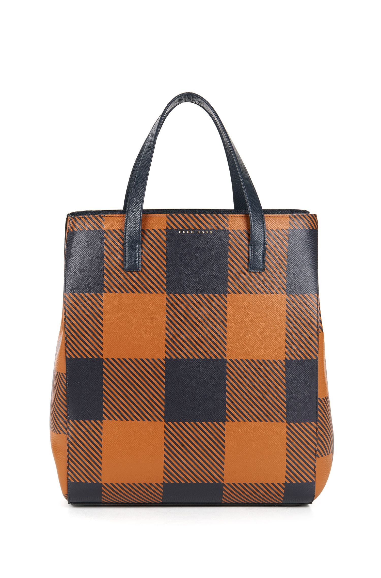 Checked Leather Tote | Soft Tote V, Brown