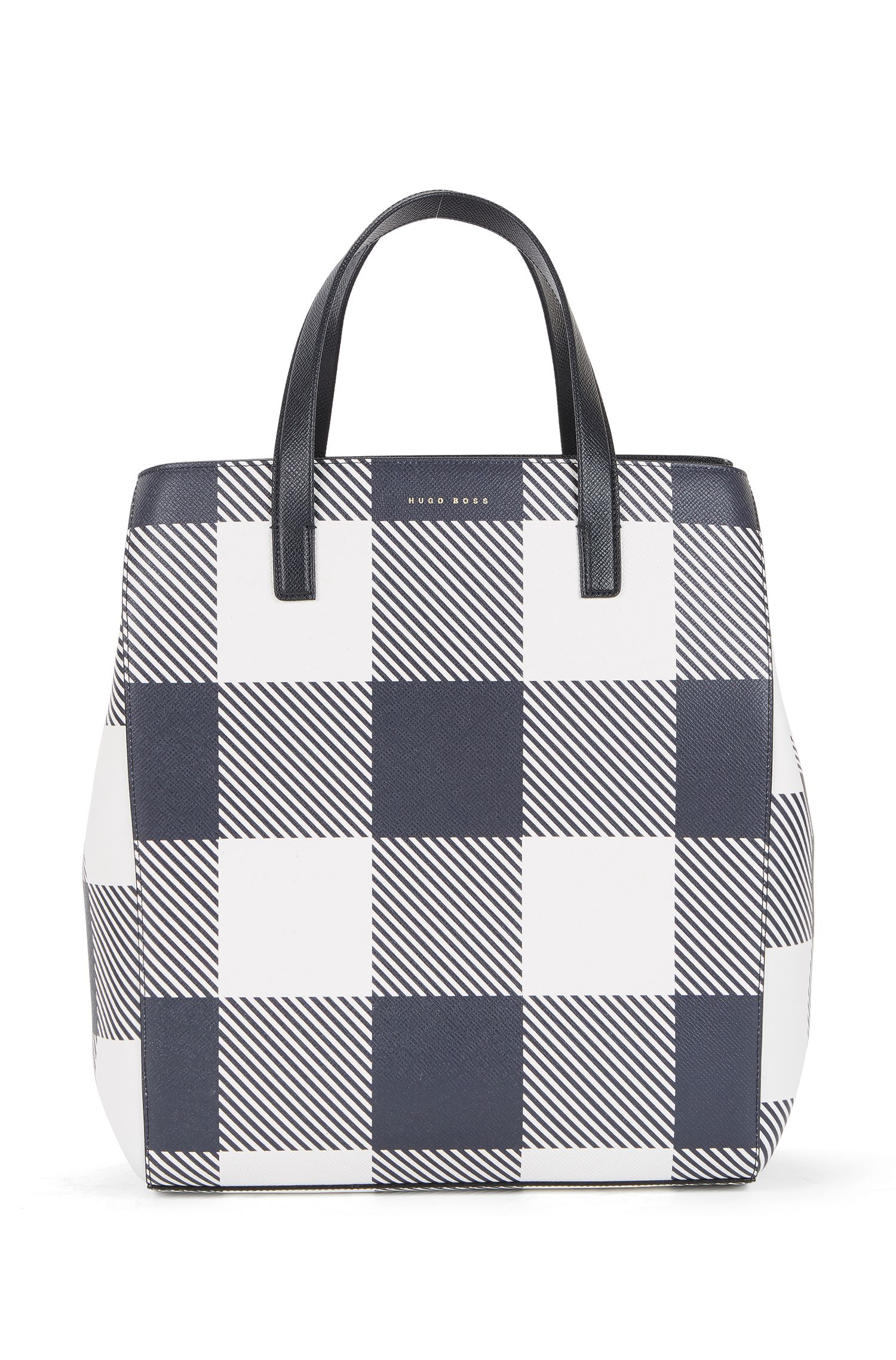 Checked Leather Tote | Soft Tote V