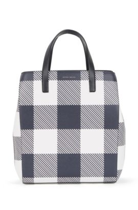 Checked Leather Tote | Soft Tote V, Dark Blue
