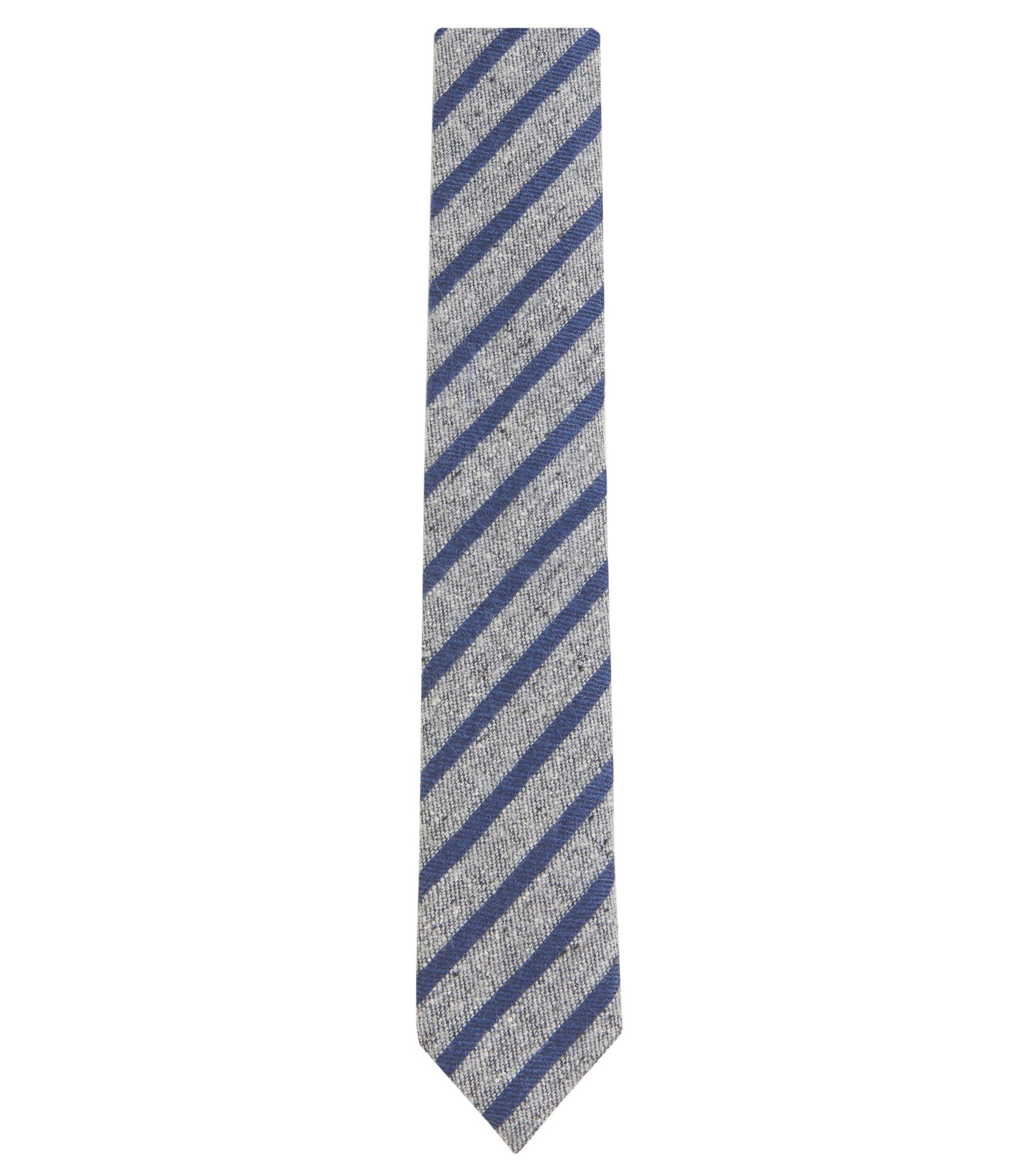 Striped Silk Wool Blend Slim Tie, Open Grey