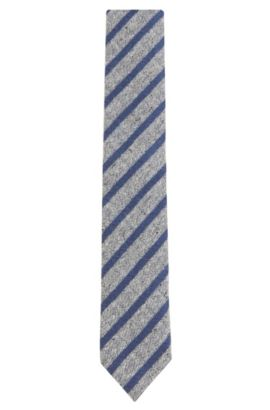 Striped Silk Wool Blend Slim Tie, Open Grey