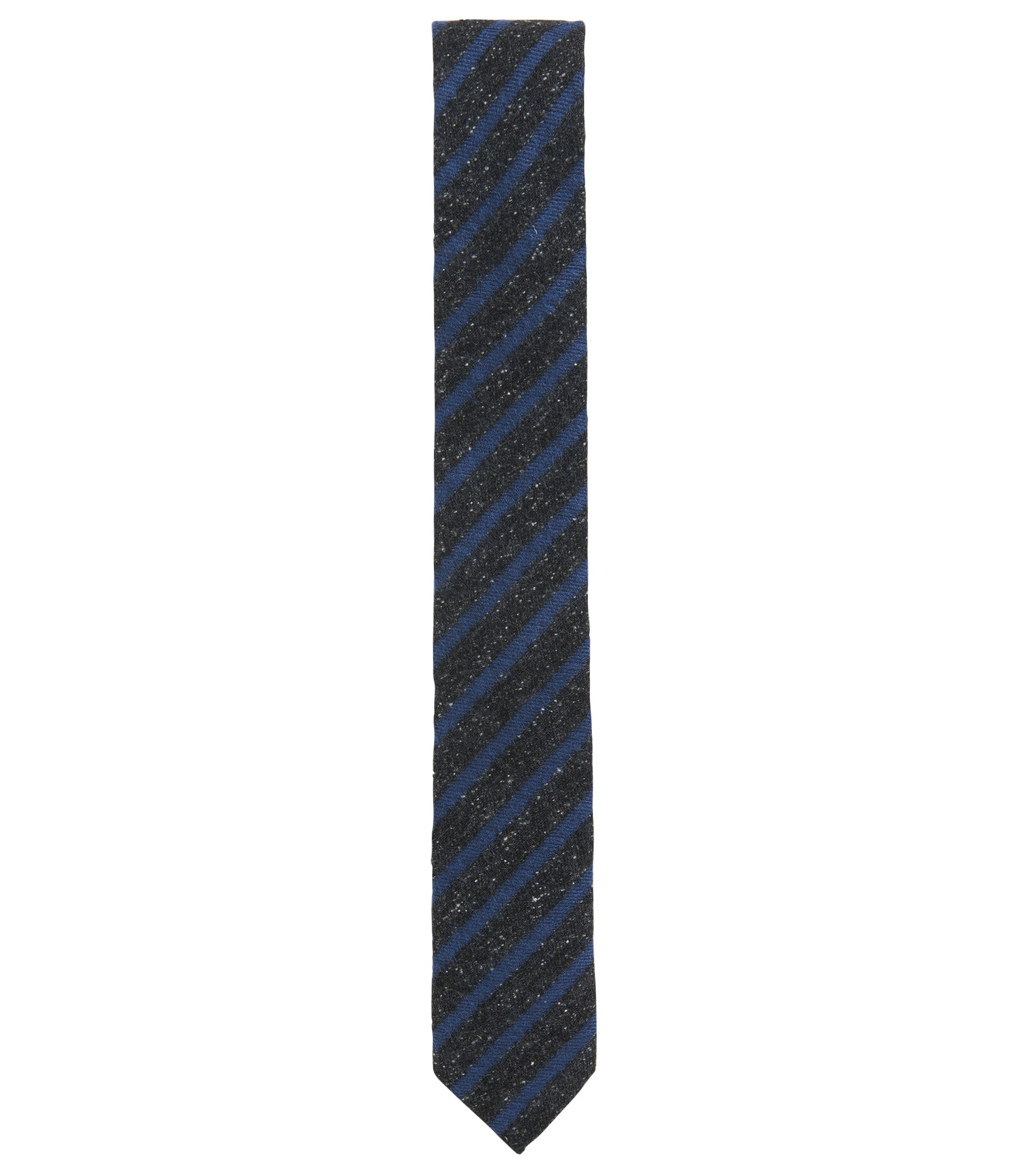 Striped Silk Wool Blend Slim Tie, Dark Blue
