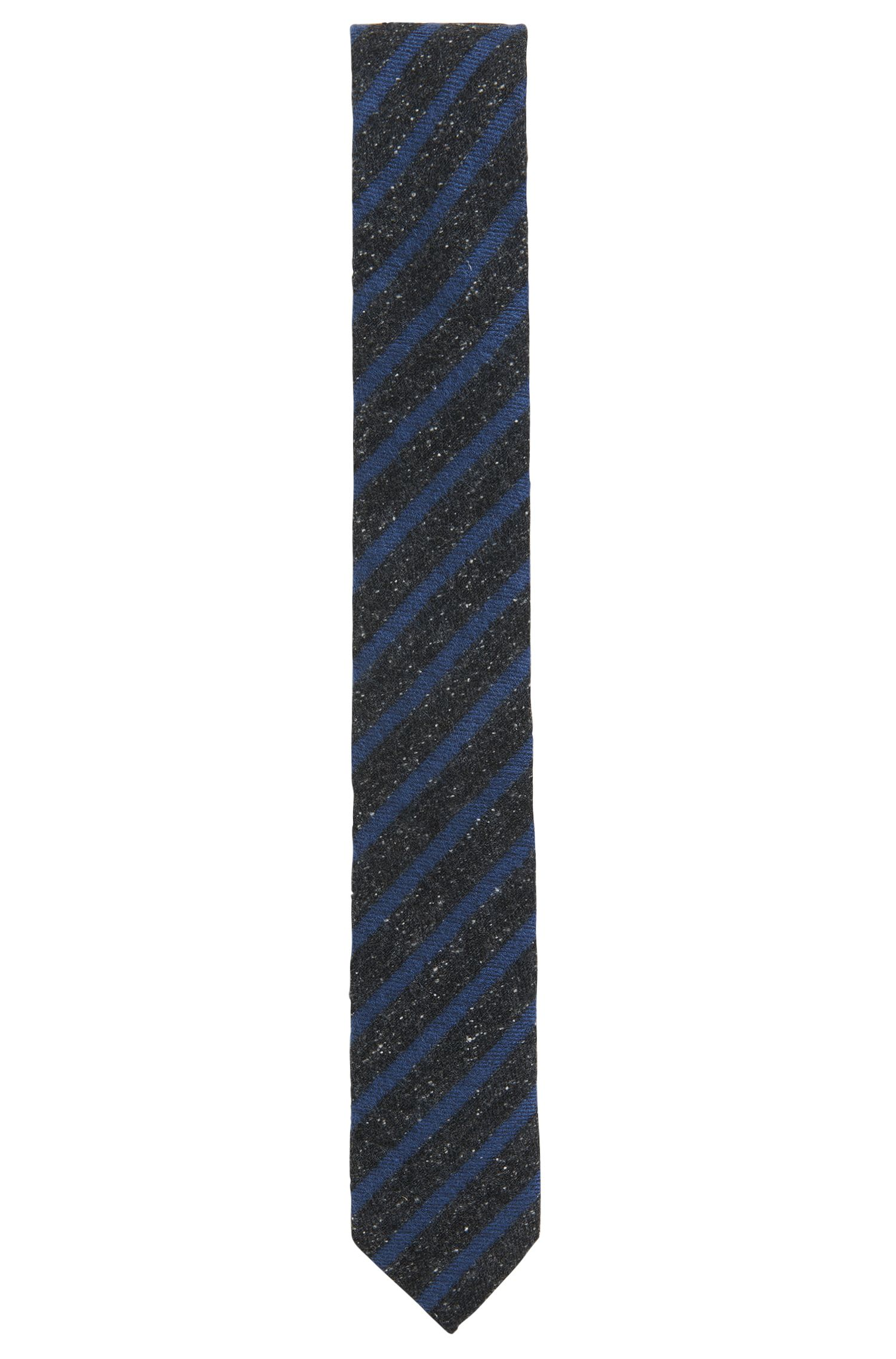 Striped Silk Wool Blend Slim Tie