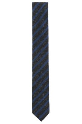 'Tie 6 cm' | Slim, Striped Silk Wool Blend Tie, Dark Blue