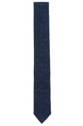 Floral Silk Wool Slim Tie, Dark Blue