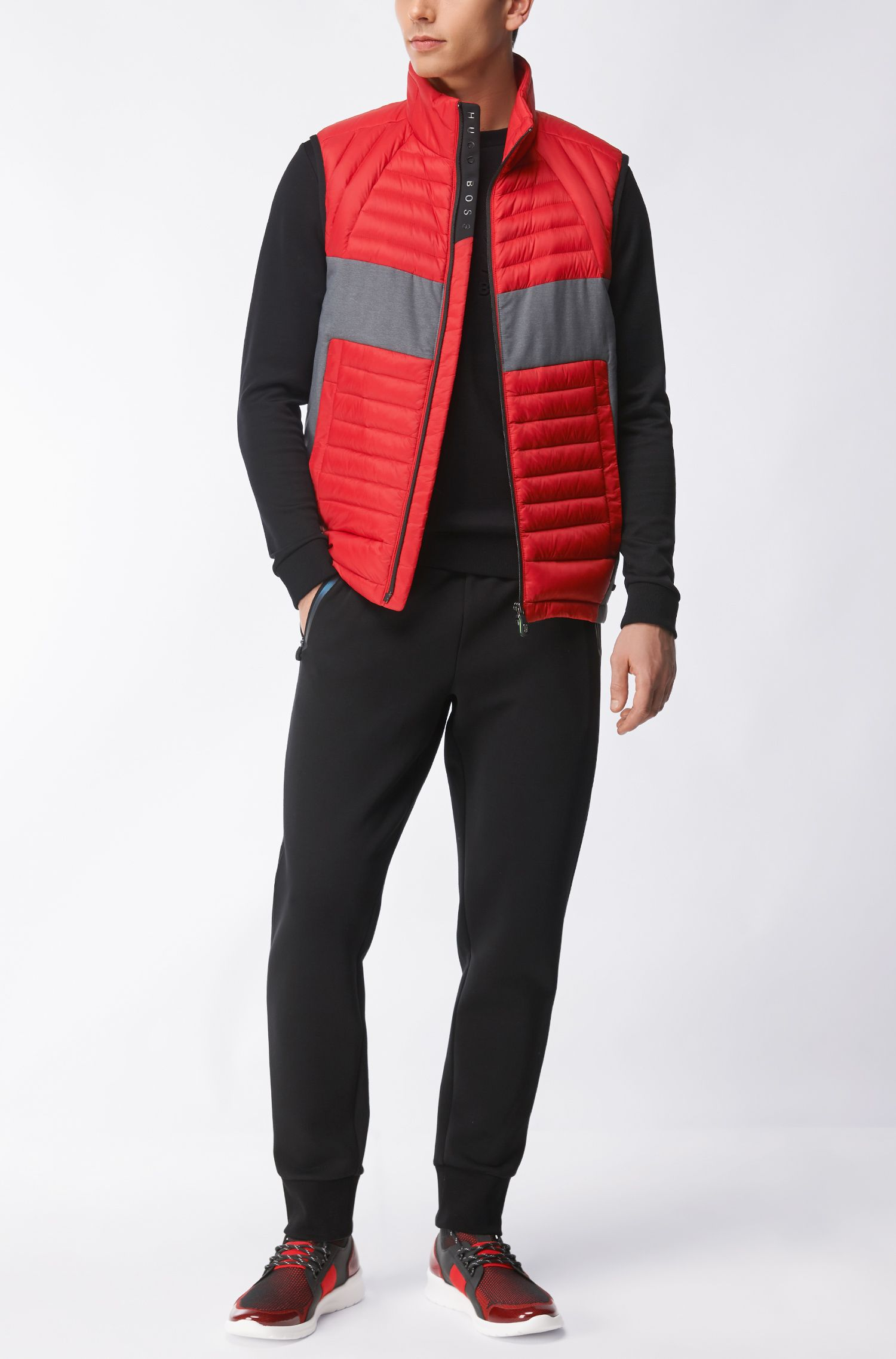 Colorblocked Quilted Vest | Vecko, Red