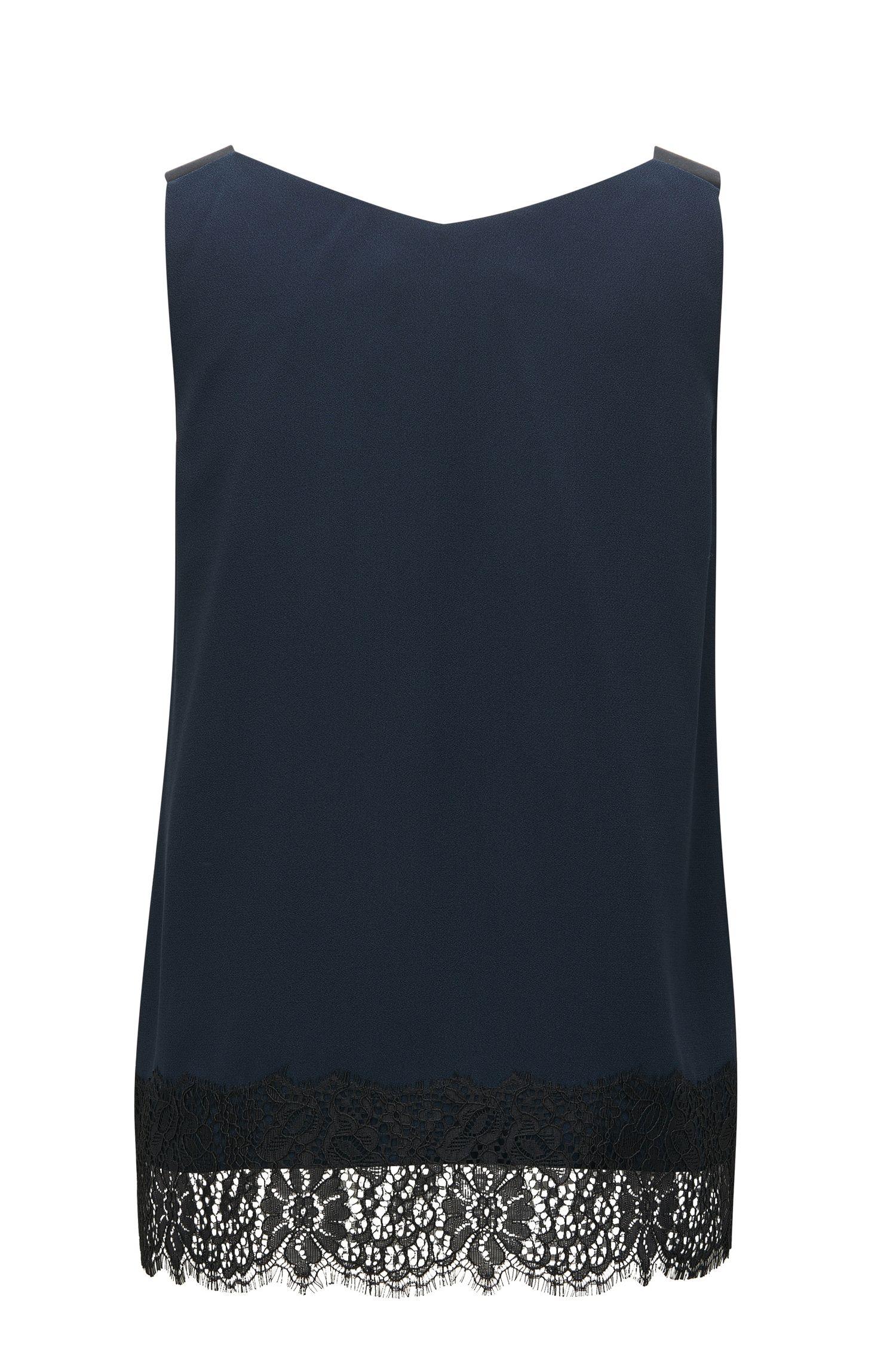 Laced Crepe Sleeveless Top | Iminka