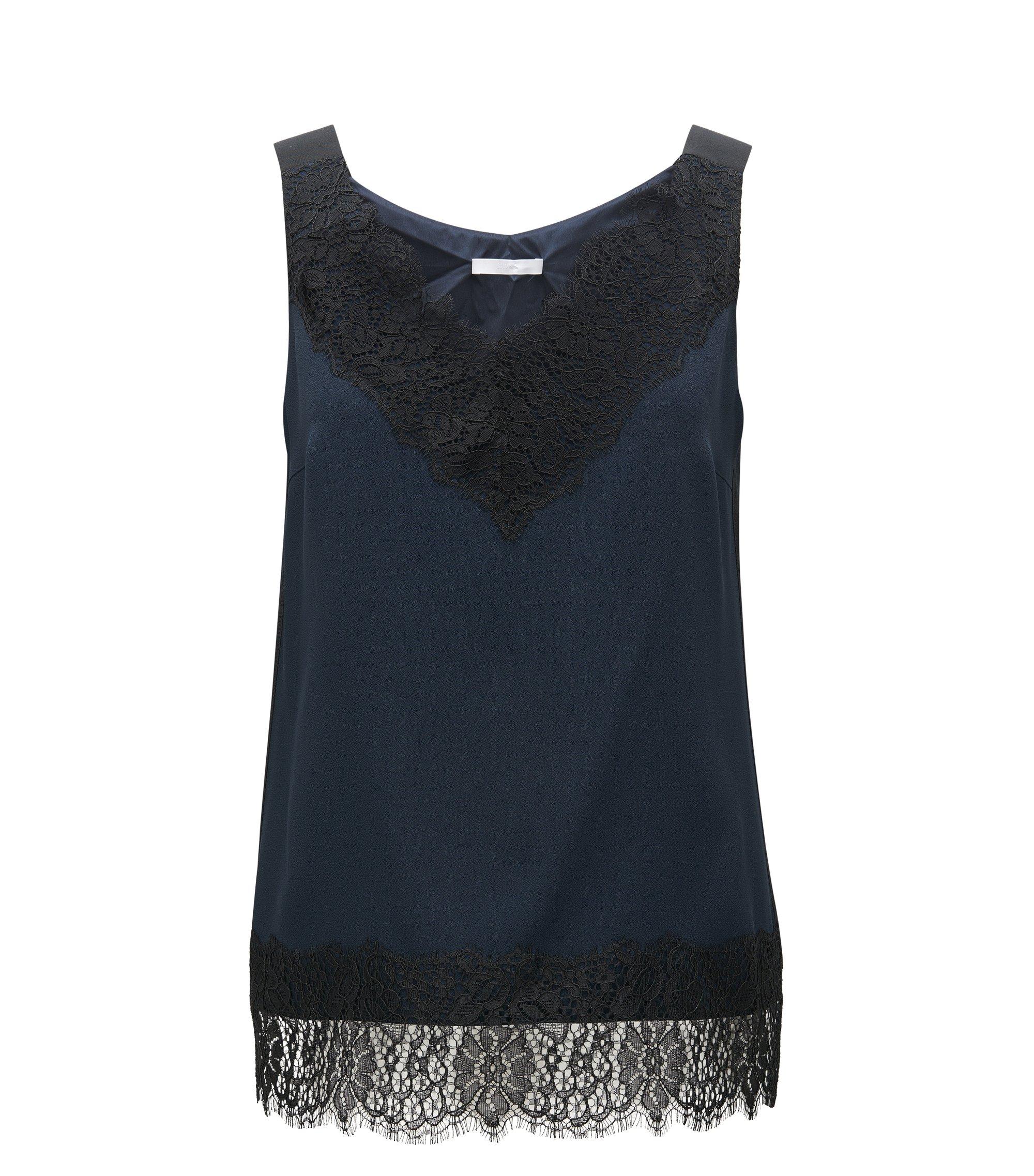 Laced Crepe Sleeveless Top | Iminka, Open Blue