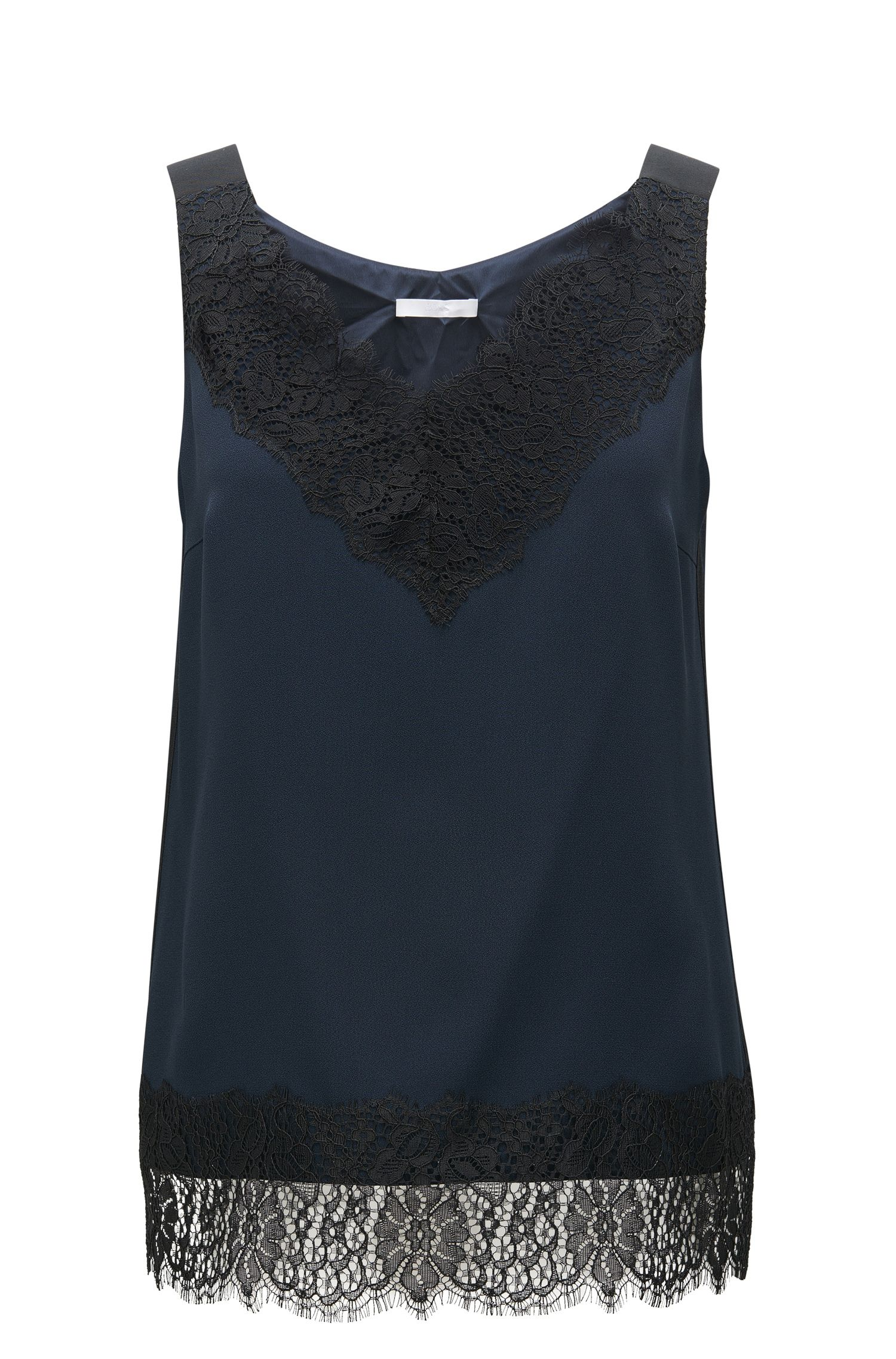 Laced Crepe Sleeveless Top | Iminka, Open Blue