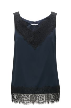 'Iminka'   Laced Crepe Sleeveless Top, Open Blue