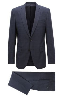Glen Plaid Virgin Wool Suit, Slim Fit | Huge/Genius, Dark Blue