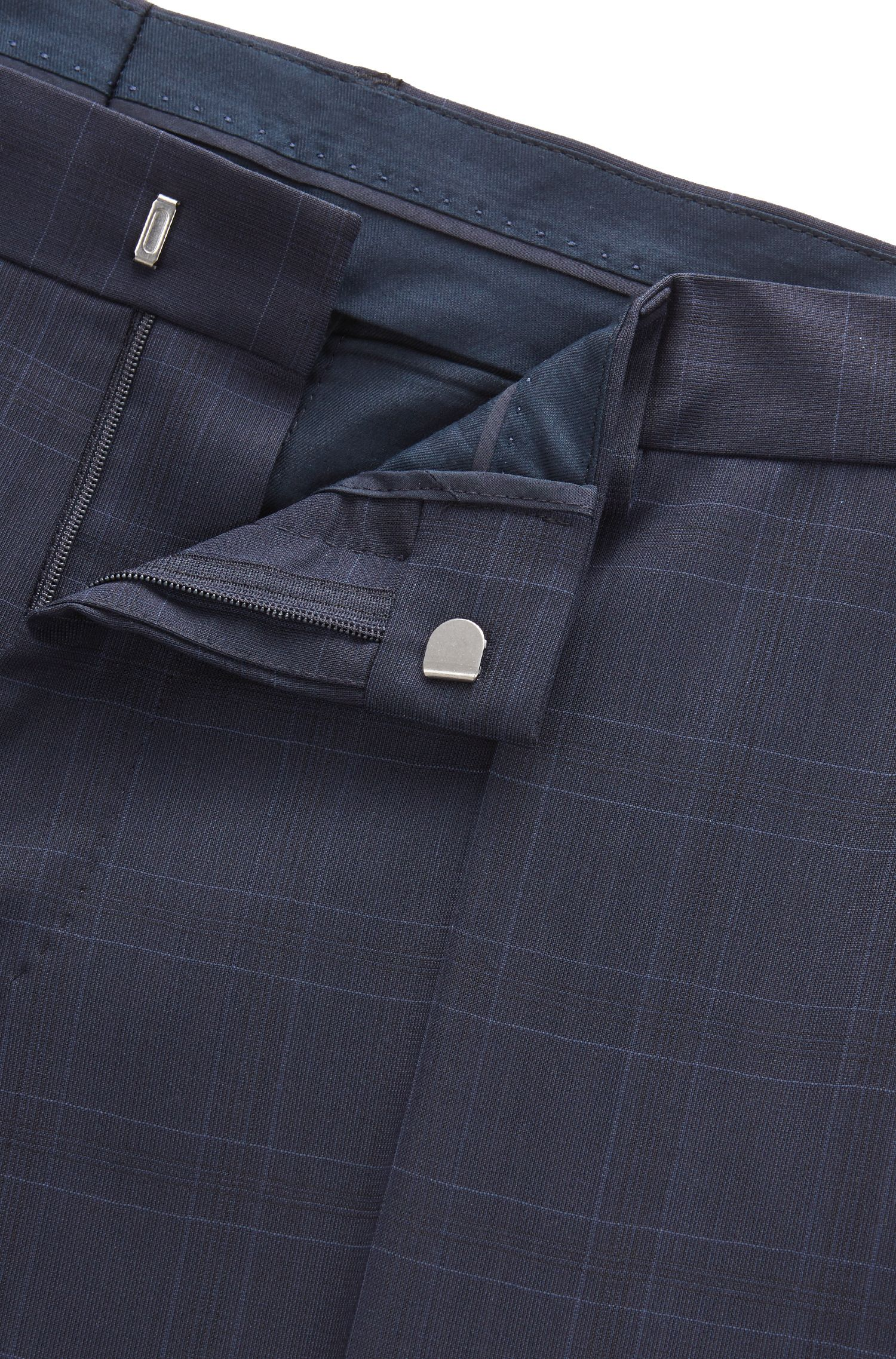 Stretch Tailoring Virgin Wool Suit, Slim Fit | Huge/Genius, Dark Blue