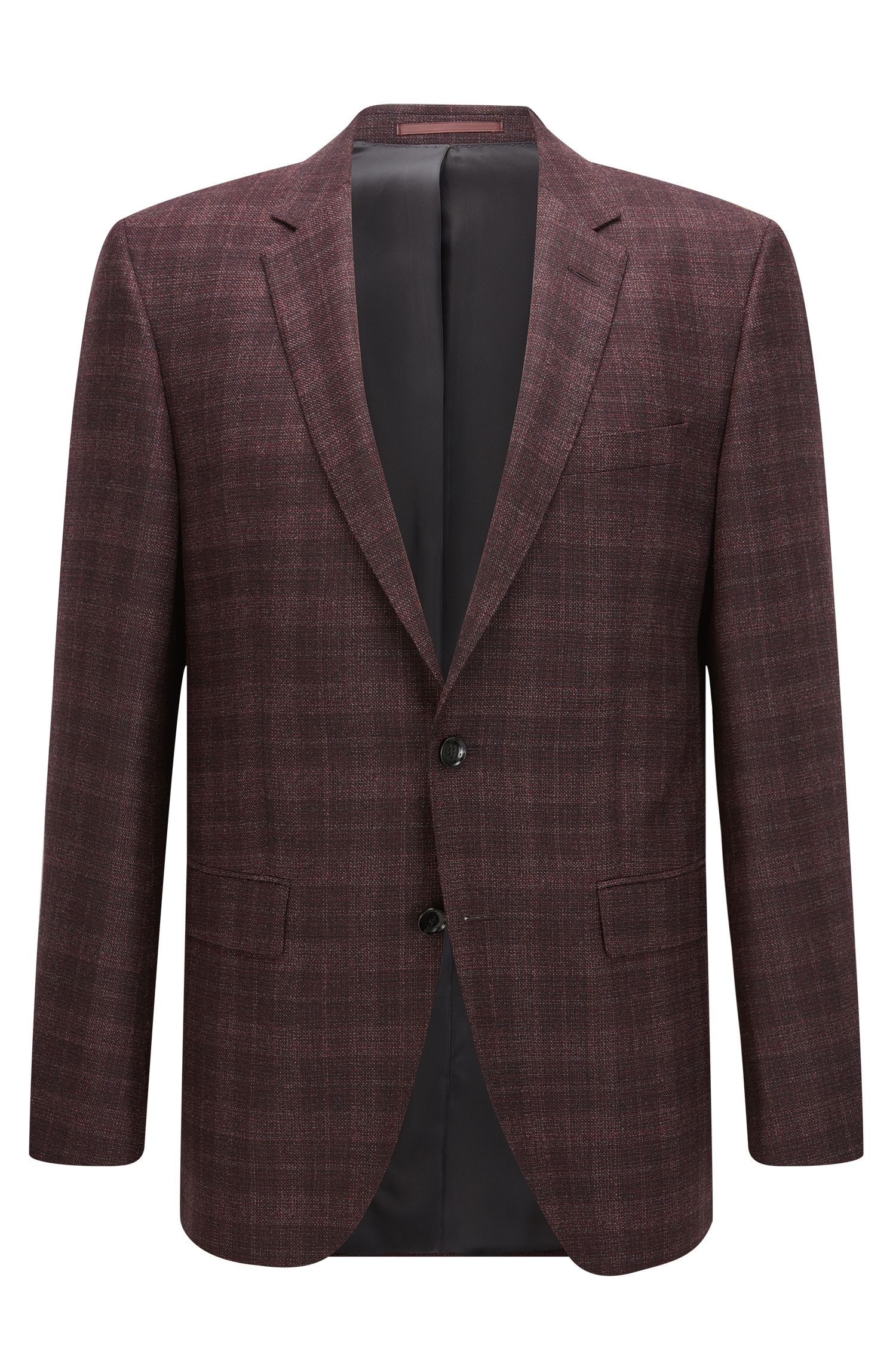 Plaid Italian Virgin Wool Silk Jacket, Slim Fit | T-Heel
