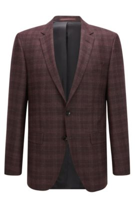 Plaid Italian Virgin Wool Silk Jacket, Slim Fit | T-Heel, Dark Red