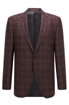 Plaid Italian Virgin Wool Silk Jacket, Regular Fit | T-Heel, Dark Red