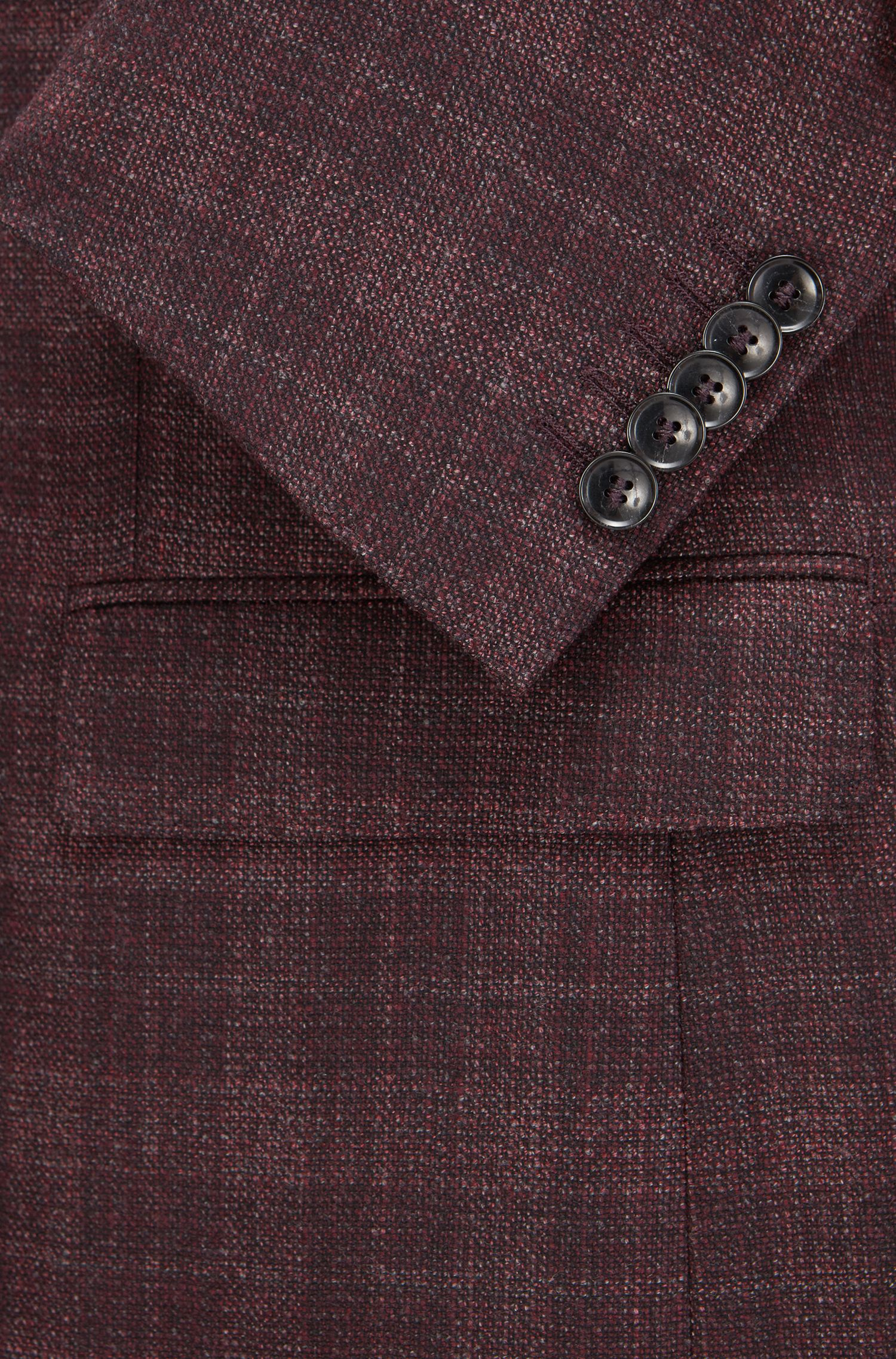 Plaid Italian Virgin Wool Silk Jacket, Slim Fit | T-Heel, Dark Red
