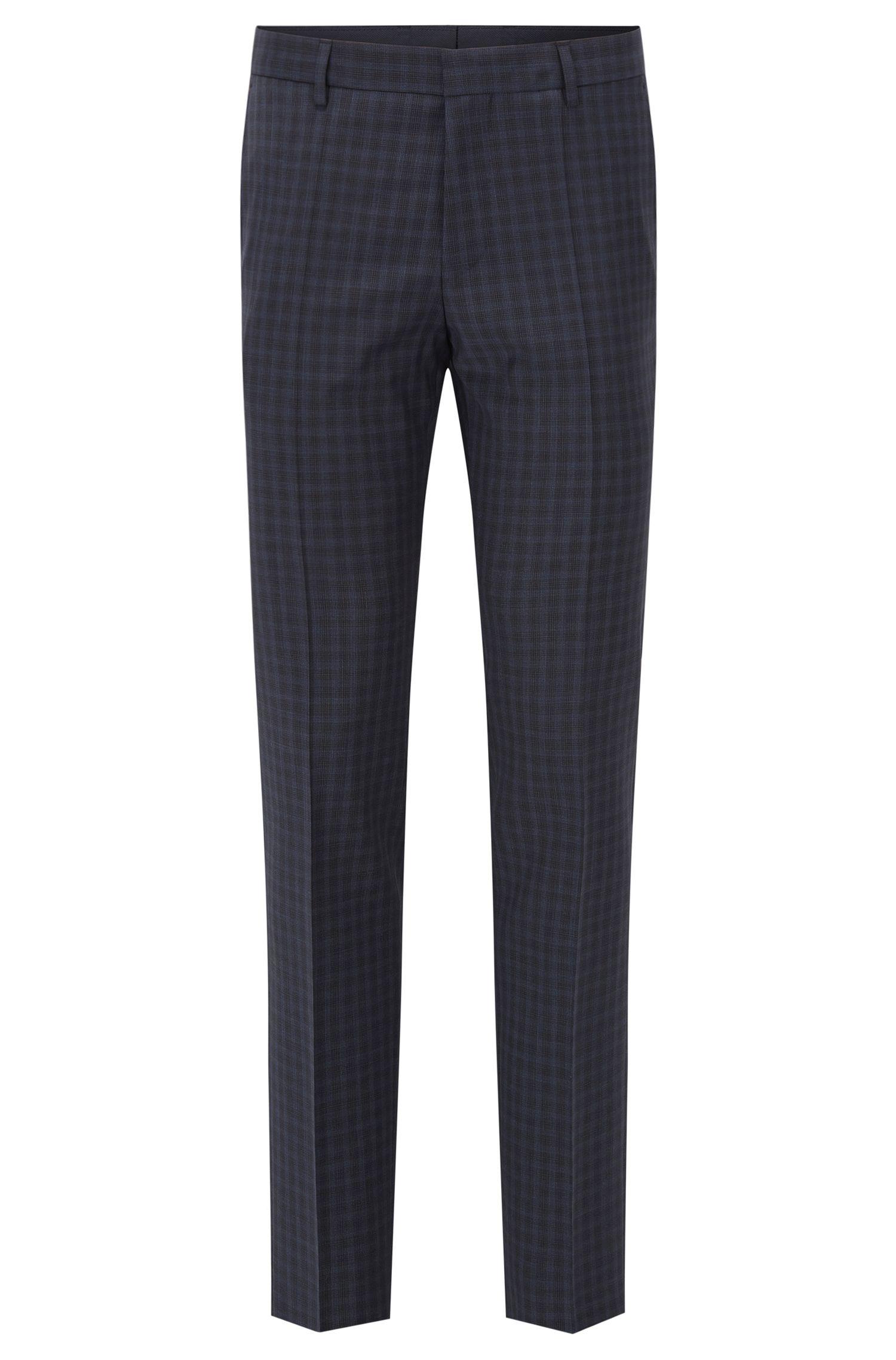 Checked Virgin Wool Dress Pants, Slim Fit | Benso