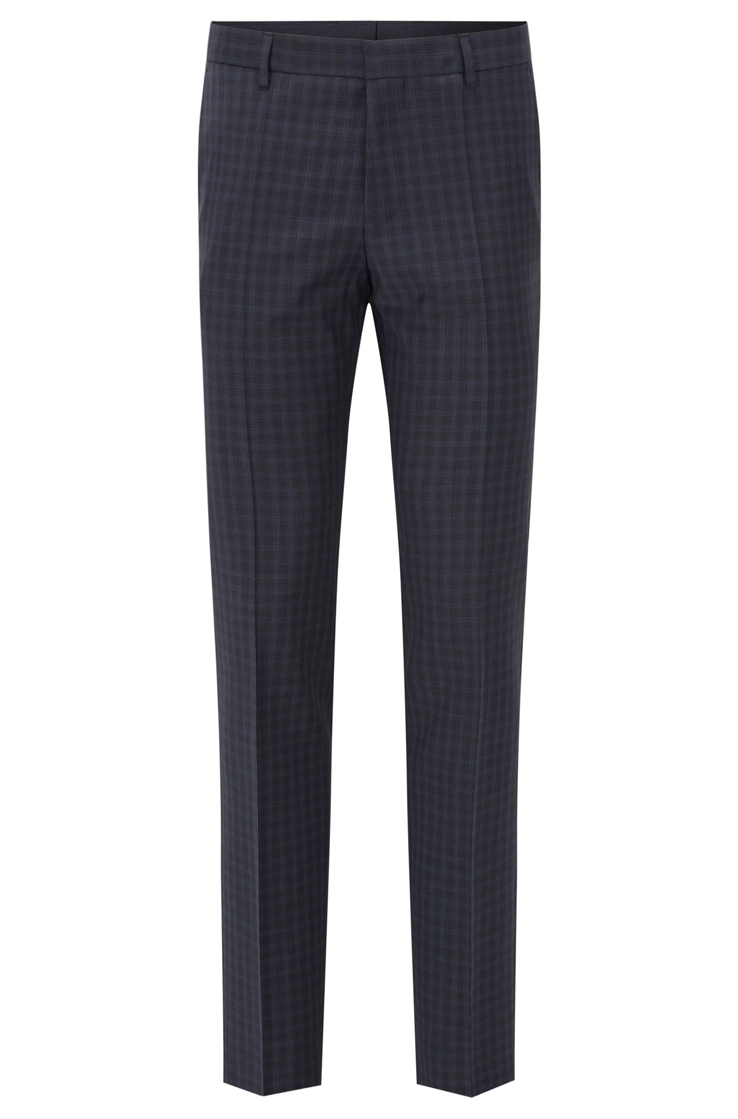 Checked Virgin Wool Dress Pant, Slim Fit | Benso