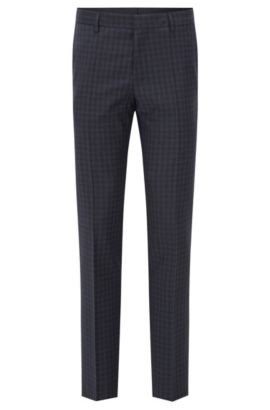 Checked Virgin Wool Dress Pant, Slim Fit | Benso, Dark Blue