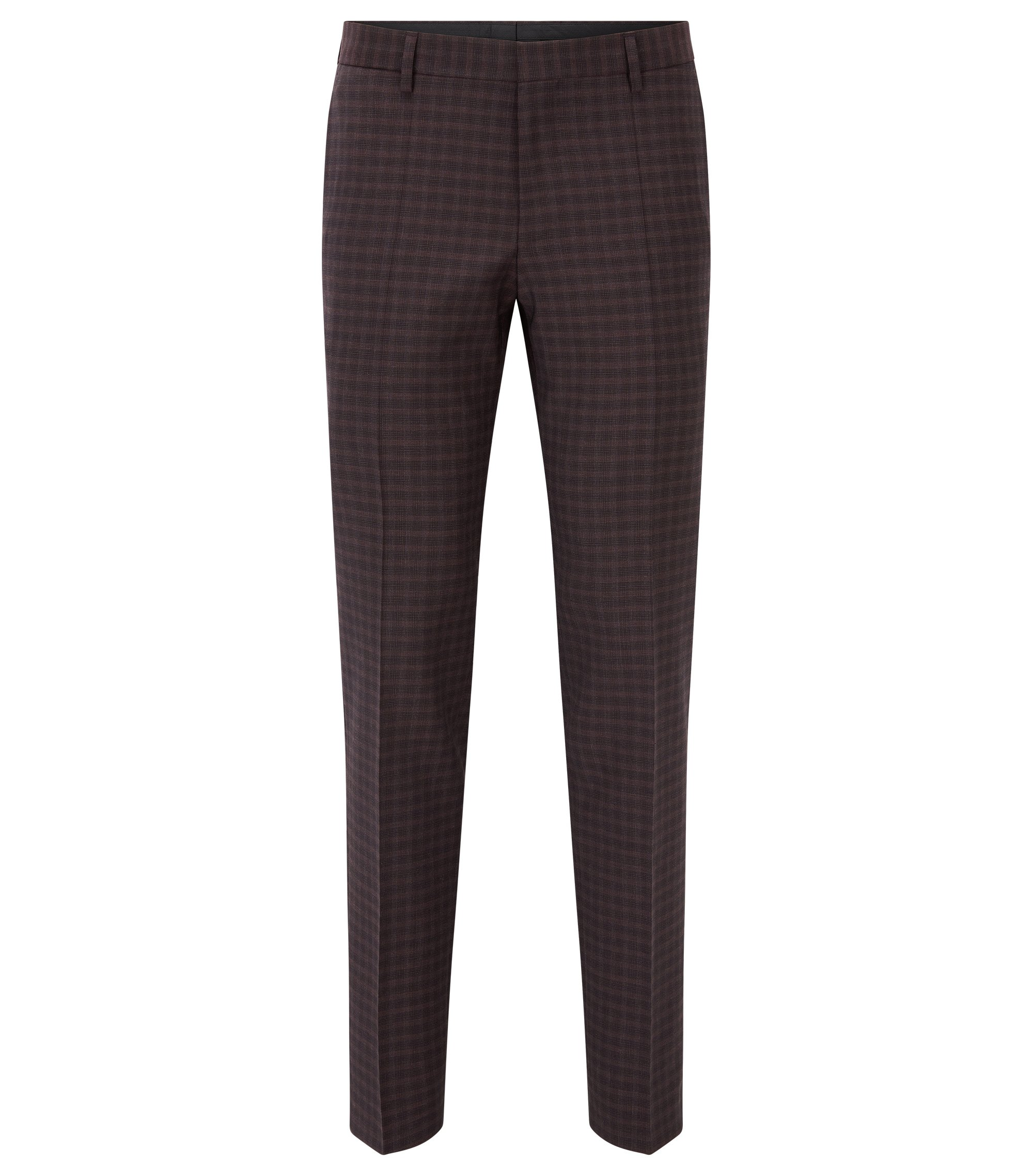 Checked Virgin Wool Dress Pant, Slim Fit | Benso, Dark Red