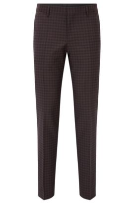Checked Virgin Wool Dress Pants, Slim Fit | Benso, Dark Red