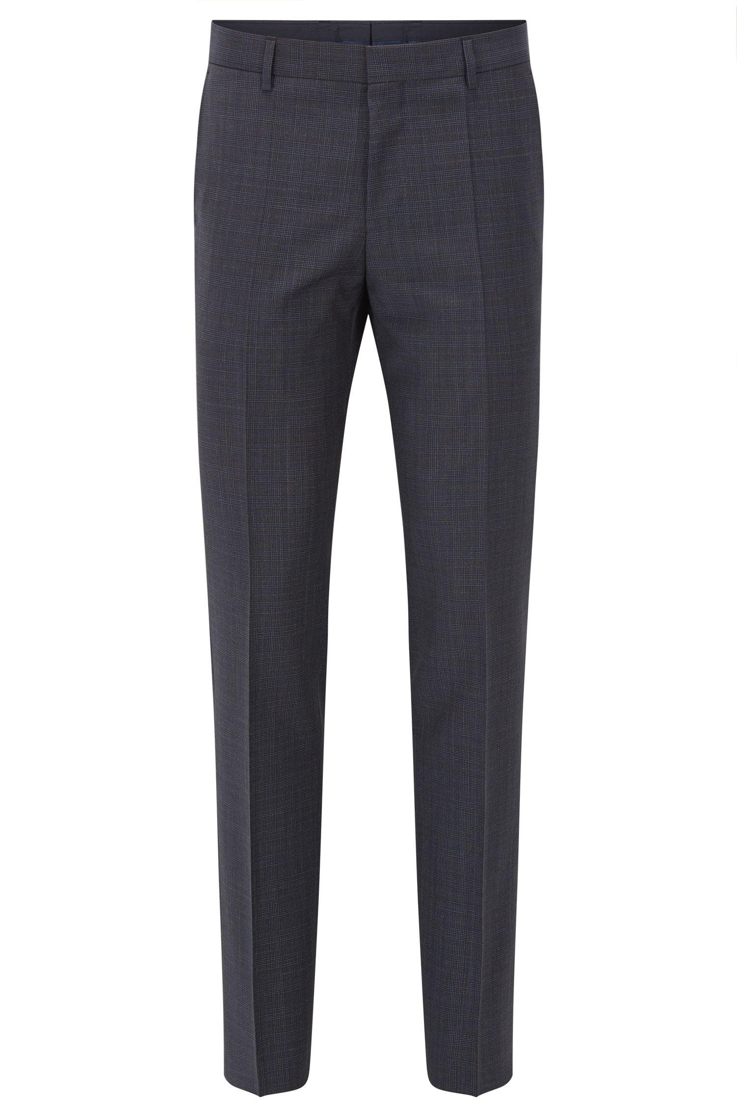Plaid Virgin Wool Dress Pants, Slim Fit | Benso