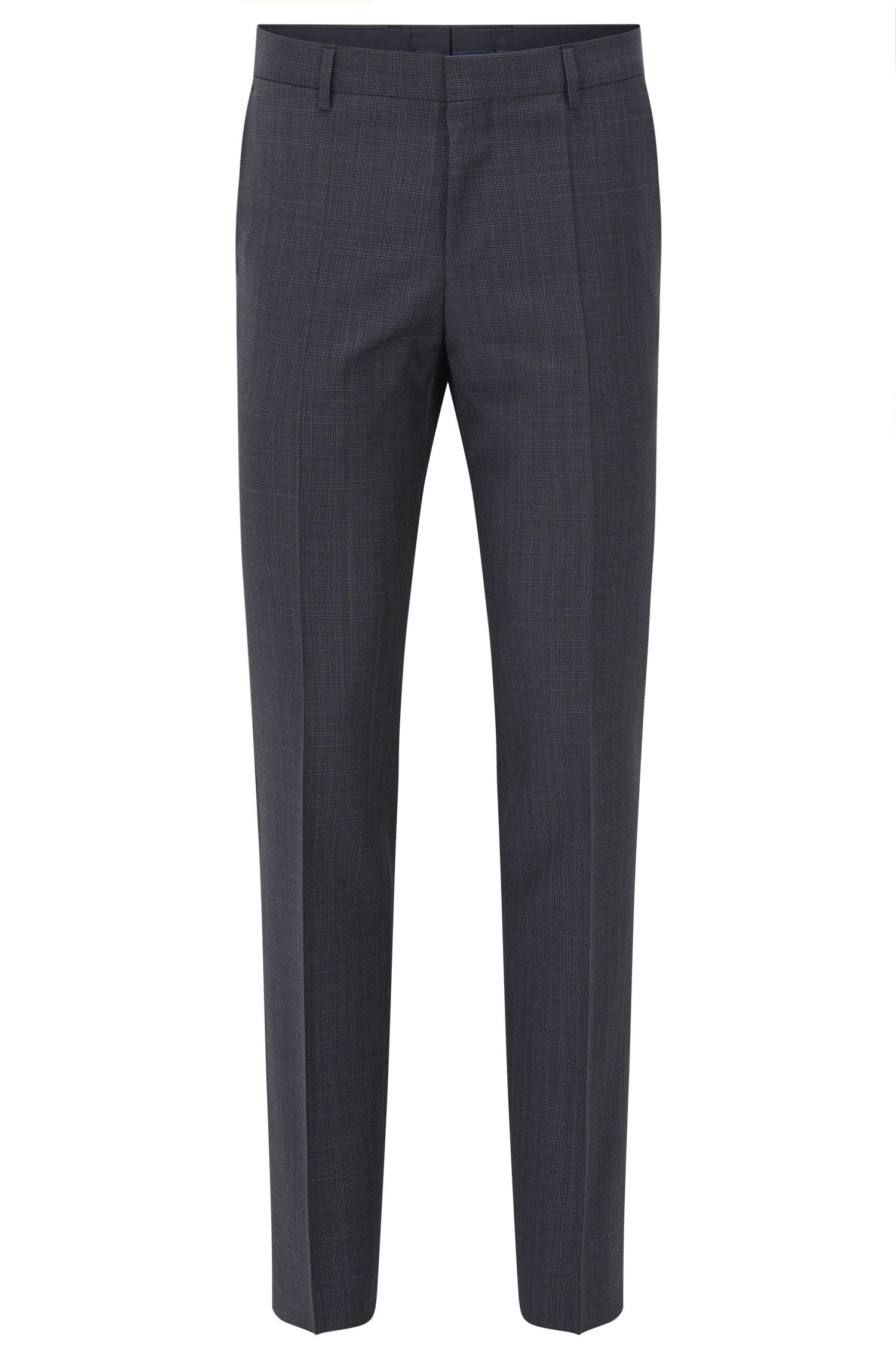 Plaid Virgin Wool Dress Pant, Slim Fit | Benso