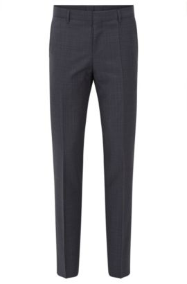 Plaid Virgin Wool Dress Pants, Slim Fit | Benso, Dark Blue
