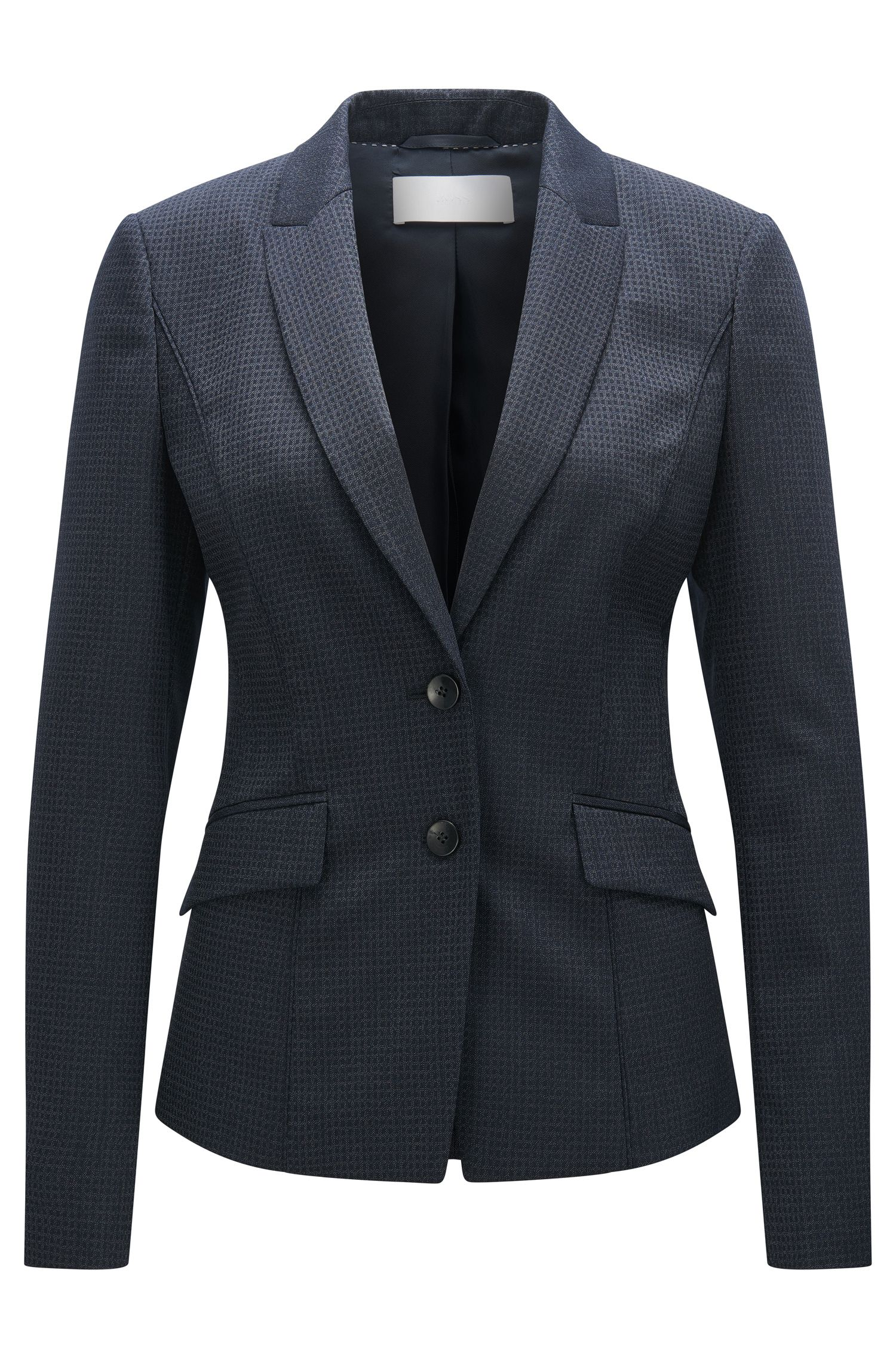 Basketweave Stretch Virgin Wool Slilk Blazer | Jukani