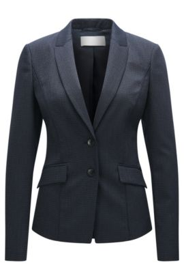 Basketweave Stretch Virgin Wool Slilk Blazer | Jukani, Patterned