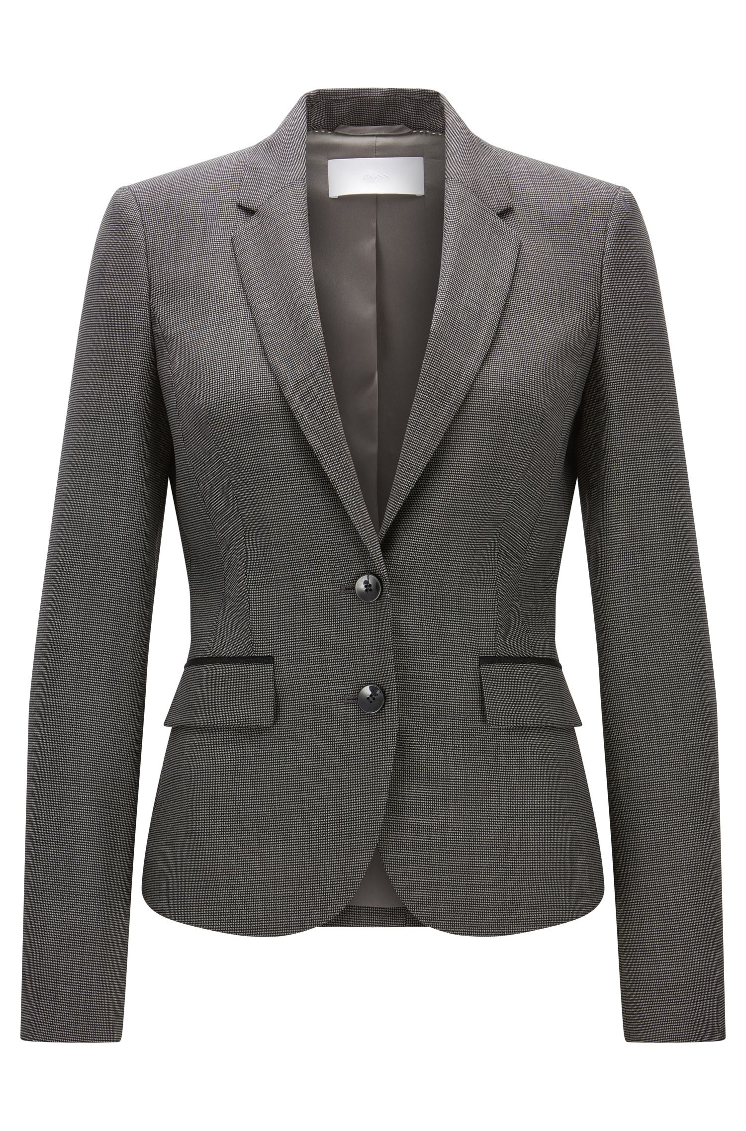 Birdseye Stretch Virgin Wool Blazer | Jylana, Patterned