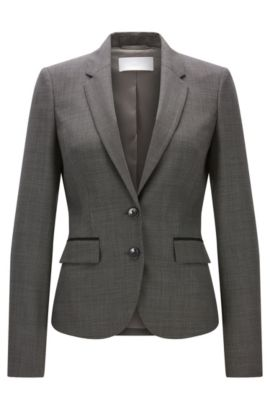 'Jylana' | Birdseye Stretch Virgin Wool Blazer, Patterned