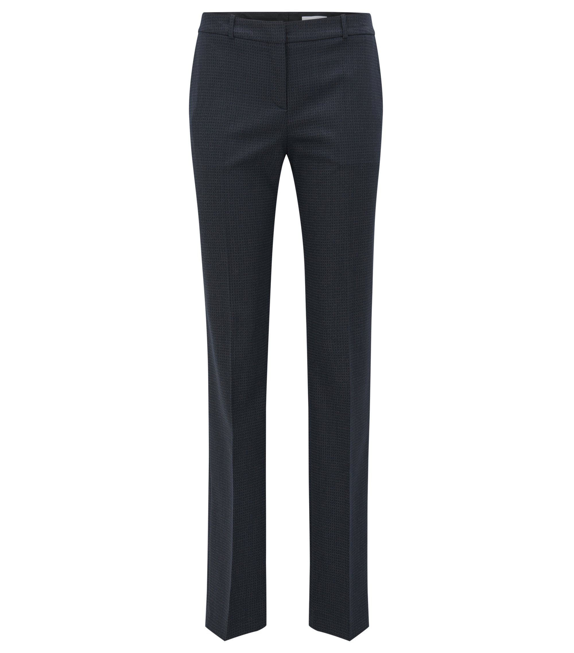Microcheck Stretch Virgin Wool-Silk Suiting Pant | Tamea, Patterned