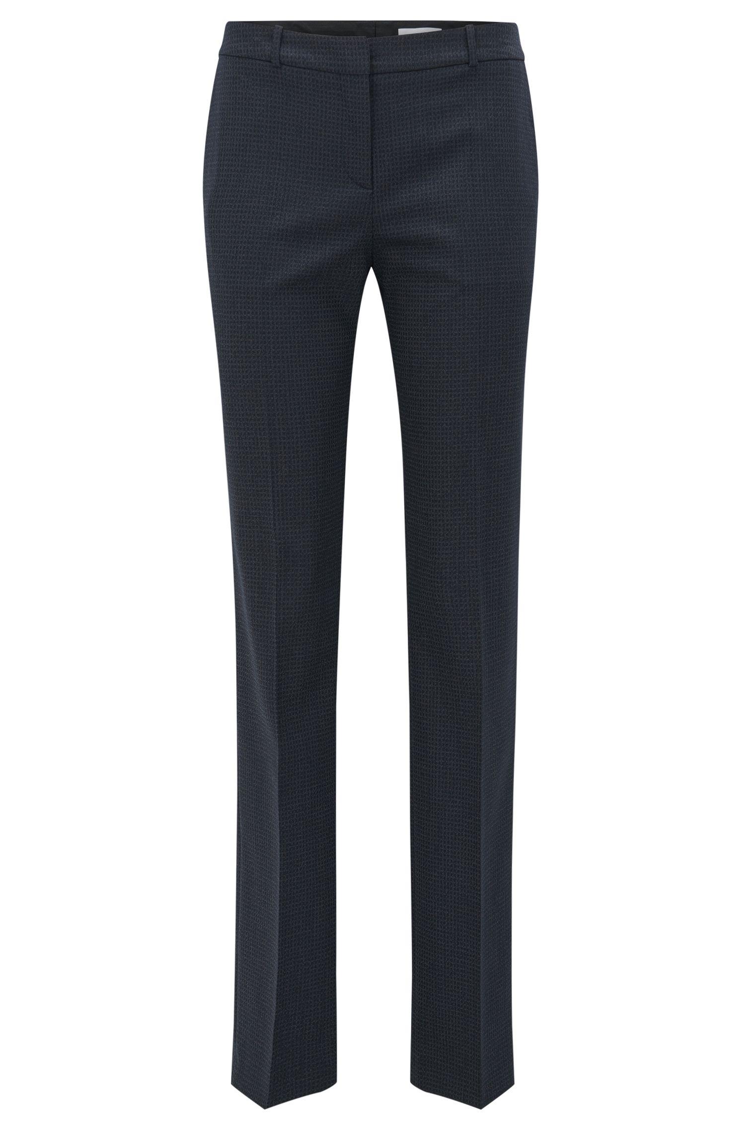 'Tamea' | Microcheck Stretch Virgin Wool-Silk Suiting Pants