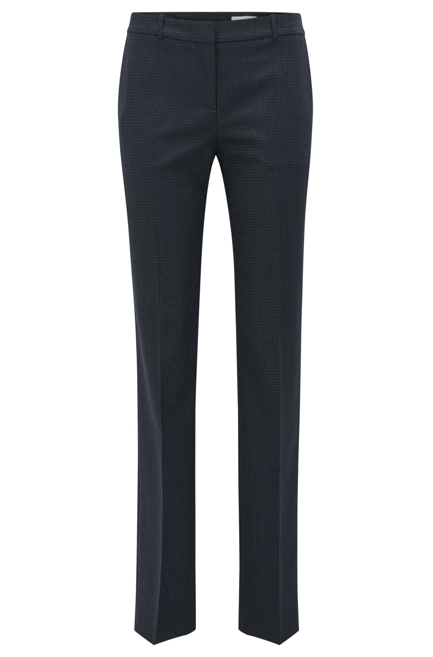 Microcheck Stretch Virgin Wool-Silk Suiting Pant | Tamea