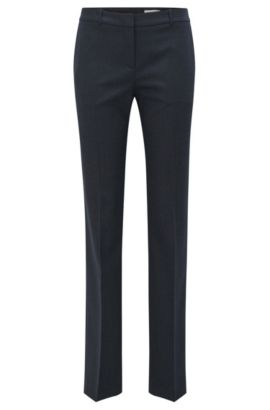'Tamea' | Microcheck Stretch Virgin Wool-Silk Suiting Pants, Patterned
