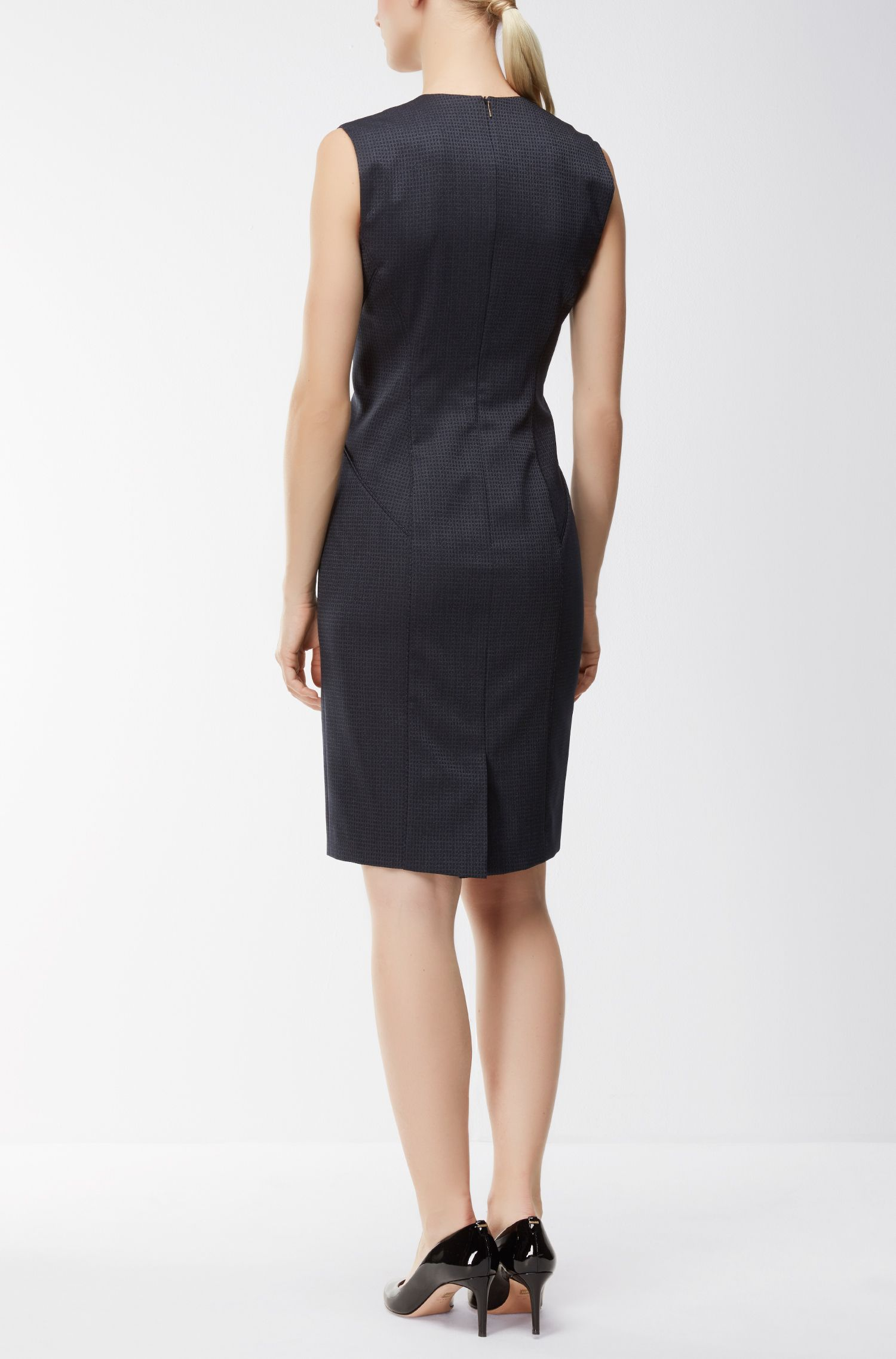 Square-Print Stretch Virgin Wool-Silk Sheath Dress | Dukani