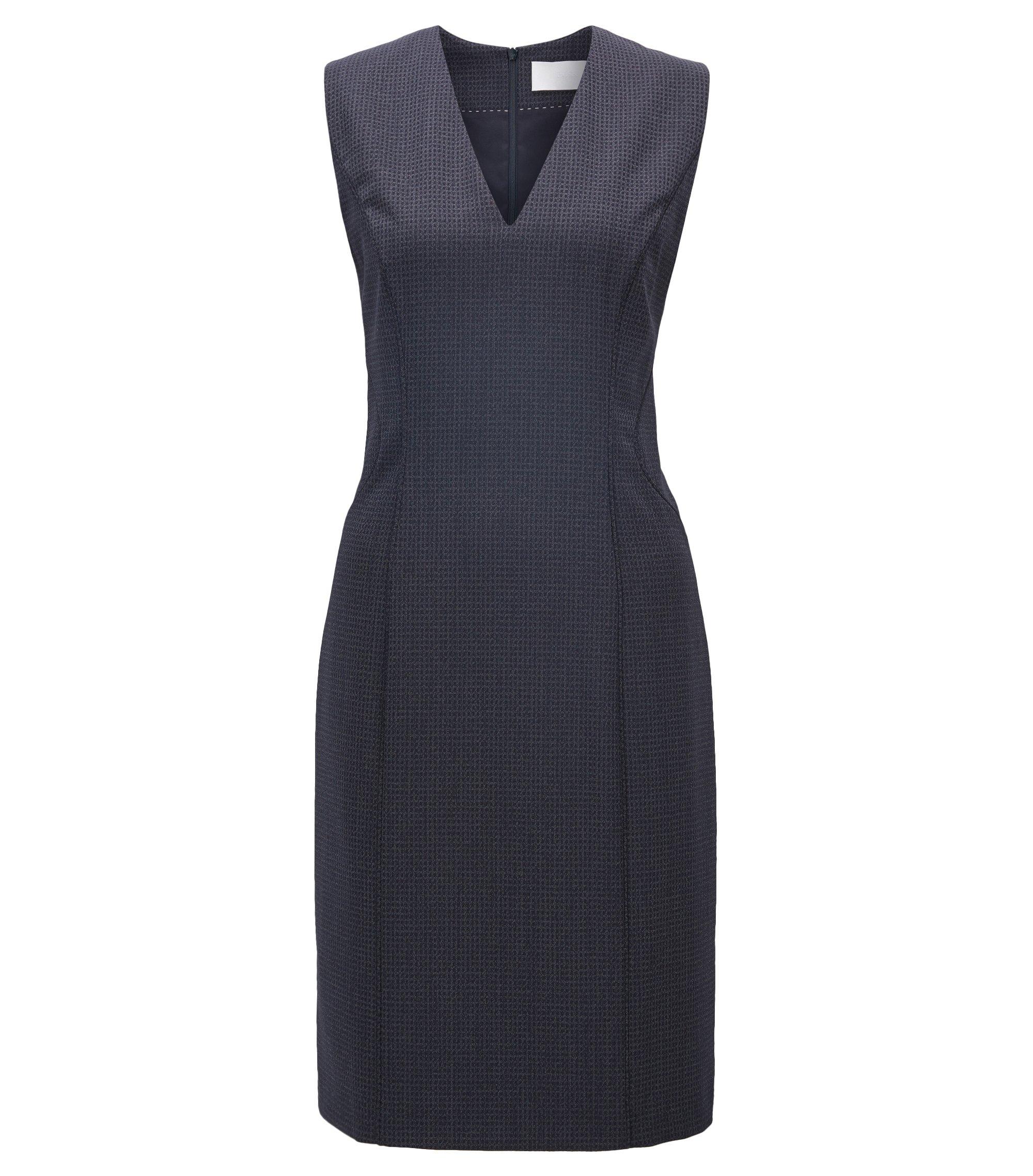 Square-Print Stretch Virgin Wool-Silk Sheath Dress | Dukani, Patterned