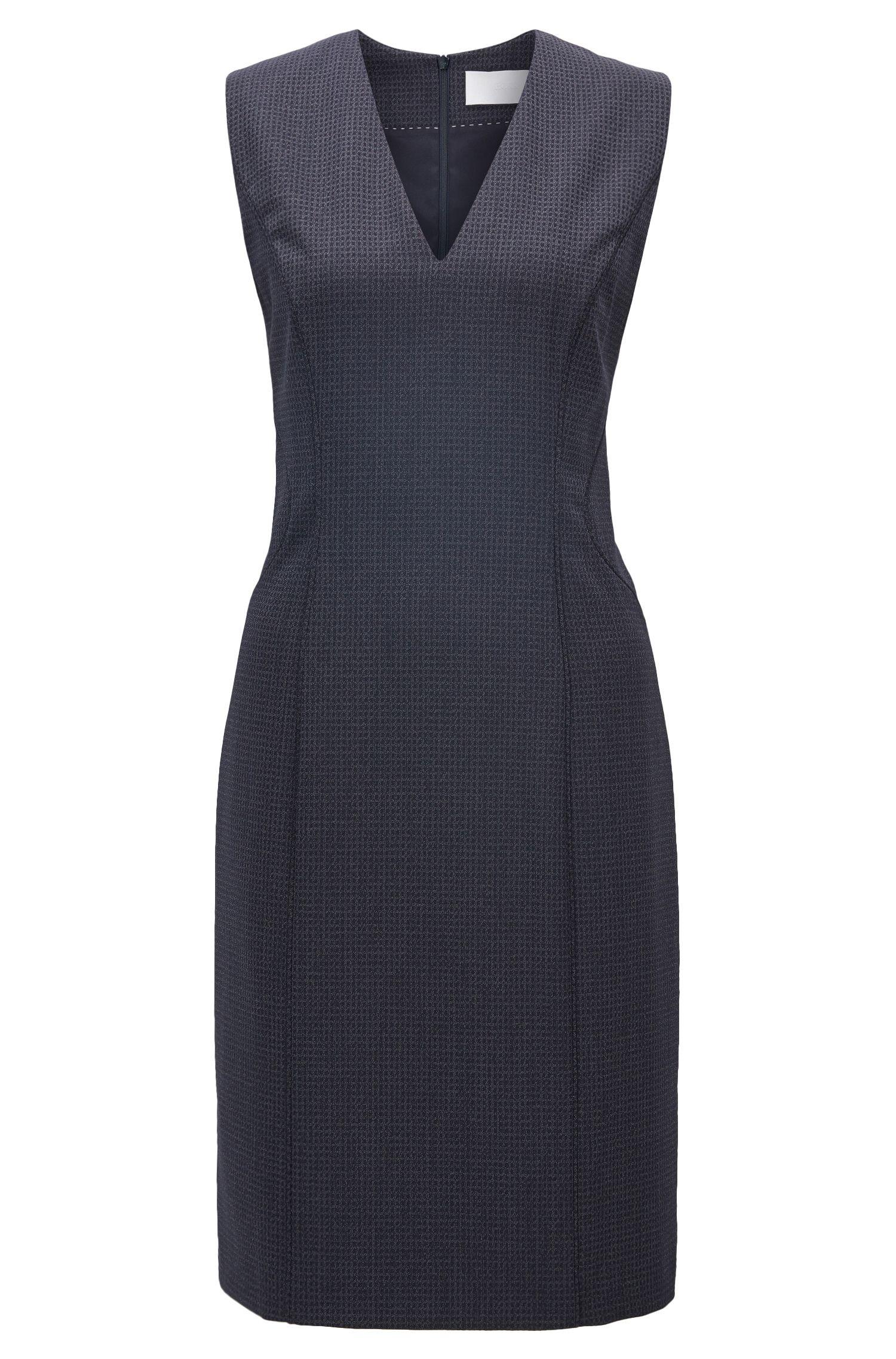 Square-Print Stretch Virgin Wool-Silk Sheath Dress | Dukani
